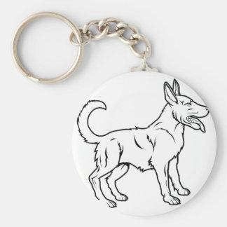 Stylised dog illustration basic round button key ring