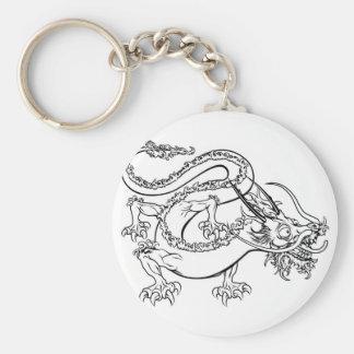 Stylised dragon illustration basic round button key ring