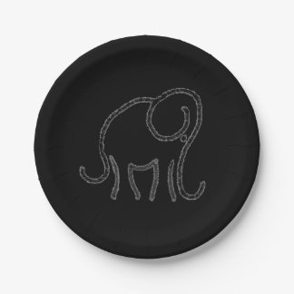 Stylised elephant emblem on black paper plate