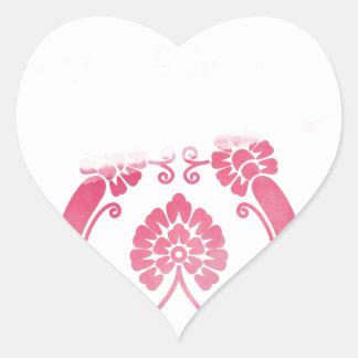 Stylised Flower Pattern in Pinks Heart Sticker