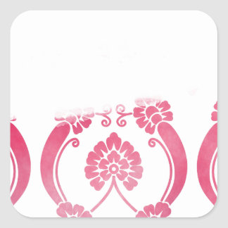 Stylised Flower Pattern in Pinks Square Sticker