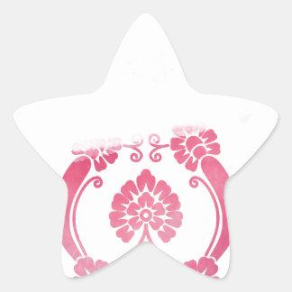Stylised Flower Pattern in Pinks Star Sticker