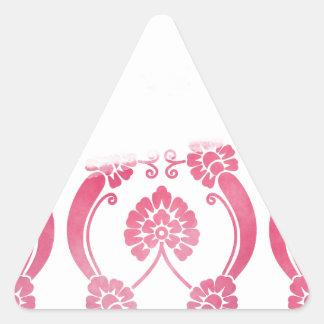 Stylised Flower Pattern in Pinks Triangle Sticker
