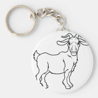 Stylised goat illustration basic round button key ring
