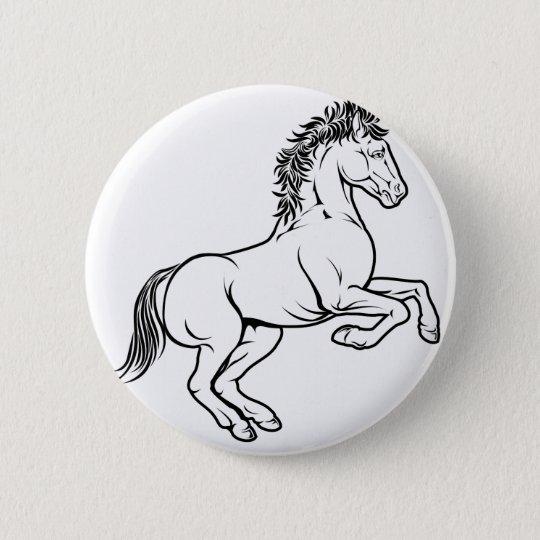 Stylised horse illustration 6 cm round badge