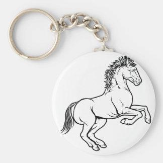 Stylised horse illustration basic round button key ring