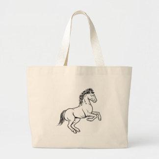 Stylised horse illustration large tote bag
