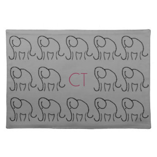 Stylised linear elephants pattern with monogram placemat