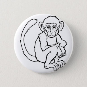 80116be19 Stylised monkey illustration 6 cm round badge
