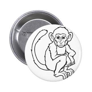 Stylised monkey illustration 6 cm round badge