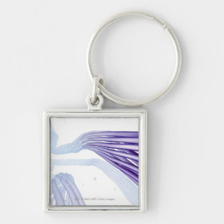 Stylised nerve fibers Silver-Colored square key ring
