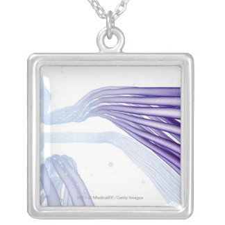 Stylised nerve fibers silver plated necklace