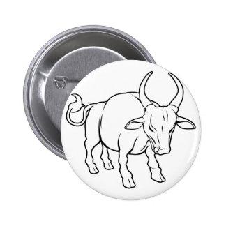 Stylised ox illustration 6 cm round badge