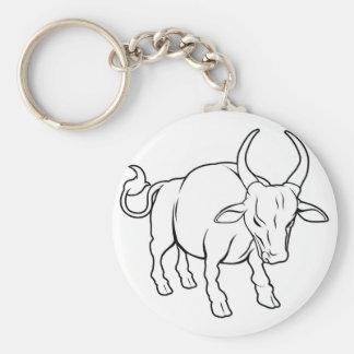 Stylised ox illustration basic round button key ring