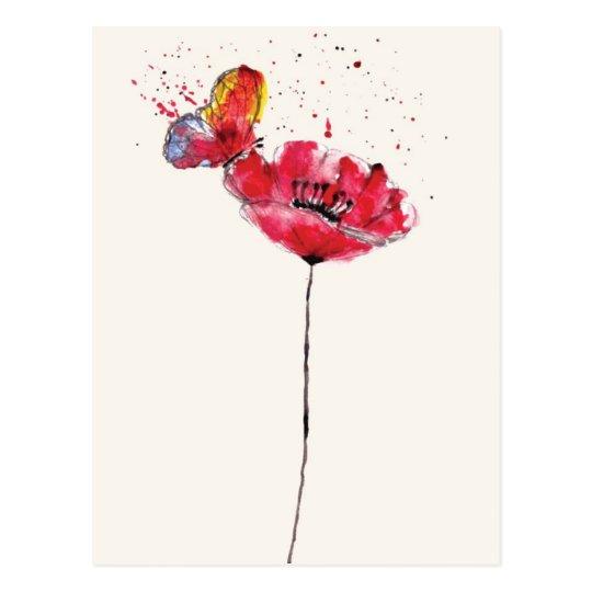 Stylised painted watercolor poppy flower postcard