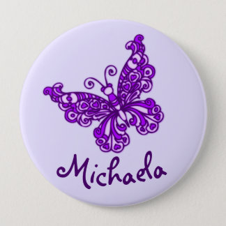 Stylised purple butterfly art name button