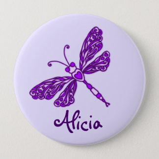 Stylised purple dragonfly art name button