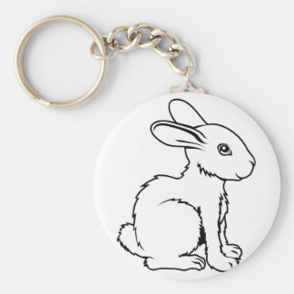 Stylised rabbit illustration basic round button key ring