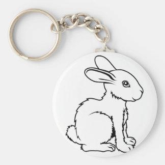 Stylised rabbit illustration key ring