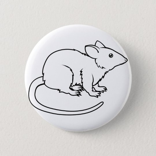 Stylised rat illustration 6 cm round badge