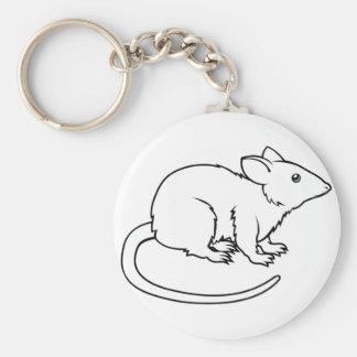 Stylised rat illustration basic round button key ring