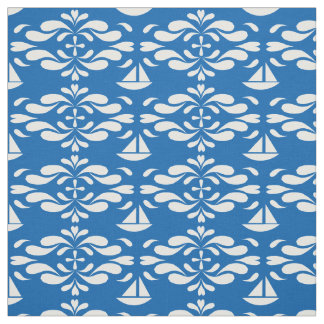 Stylised Sailboats on Swirling Seas Fabric