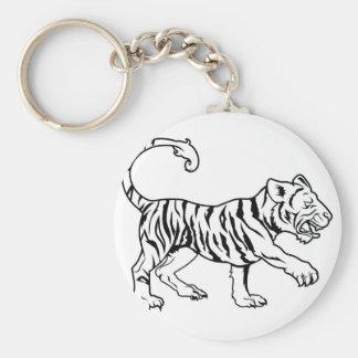 Stylised tiger illustration basic round button key ring