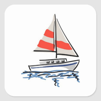 Stylised tropical sail boat square sticker