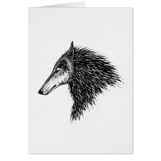 Stylised Wolf Card