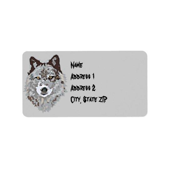 Stylised Wolf Head Adress Label