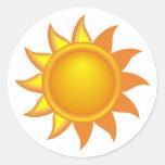 Stylised Yellow Sun Round Sticker