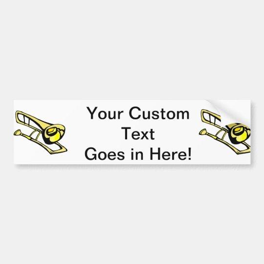stylised yellow trombone graphic image bumper sticker