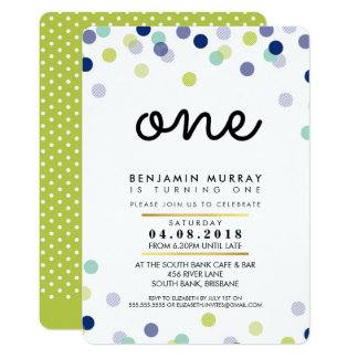 STYLISH 1ST birthday party INVITE bright boy spot