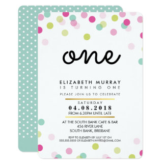 STYLISH 1ST birthday party INVITE pink mint girl