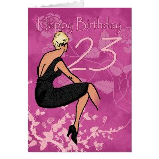 Stylish 23rd Birthday Card - Modern Female In Blac