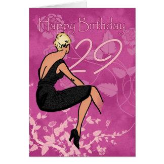 Stylish 29th Birthday Card - Modern Female In Blac