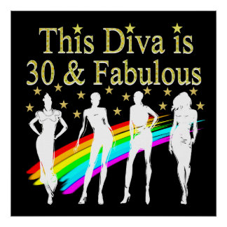 STYLISH 30 AND FABULOUS 30TH BIRTHDAY DESIGN POSTER