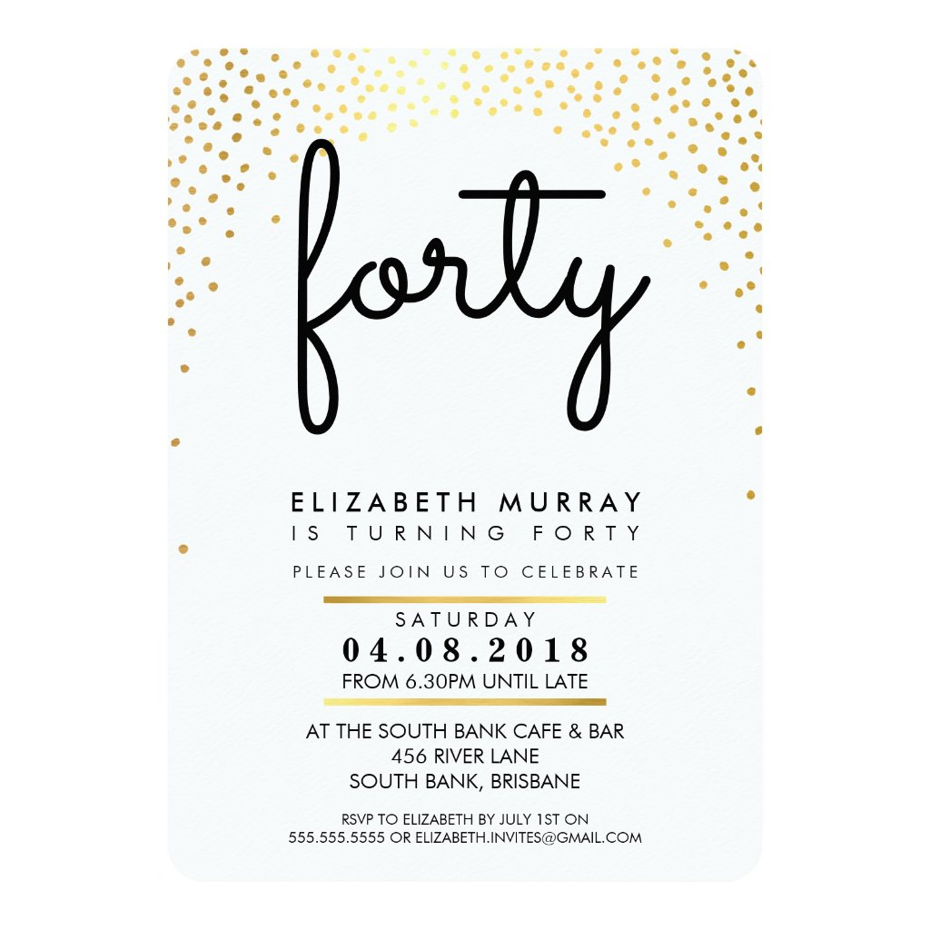 STYLISH 40TH birthday party INVITE gold confetti