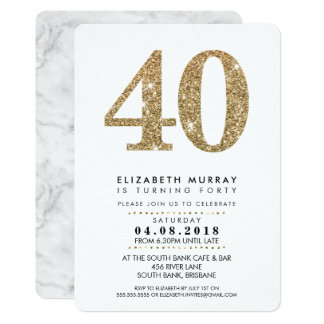 STYLISH 40TH birthday party INVITE gold glitter 40