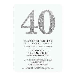 STYLISH 40TH birthday party INVITE silver glitter