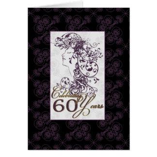 stylish 60th birthday card purple and black