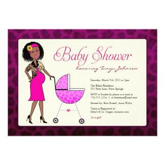 Stylish African American Baby Shower Custom Invitations