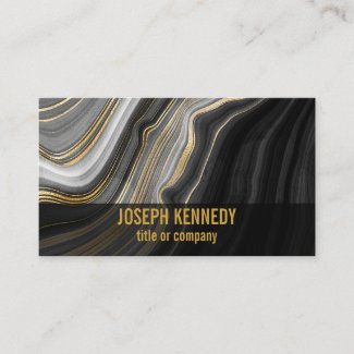 Stylish Agate Black and Gold Marble Business Card