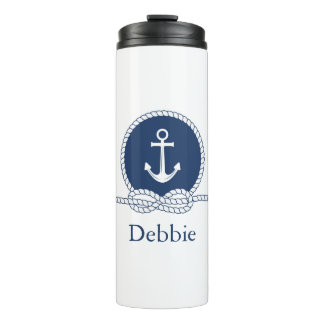 Stylish Anchor And Rope | Add Your Name Thermal Tumbler