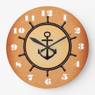 Stylish and Beautiful Anchor and Wheel Nautical Wallclocks