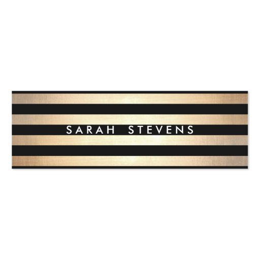 Stylish and Gold Thin Black Striped Modern Business Card Template