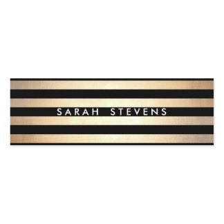 Stylish and Gold Thin Black Striped Modern Pack Of Skinny Business Cards