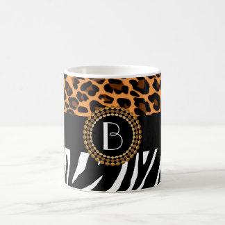 Stylish Animal Prints Zebra and Leopard Patterns Basic White Mug