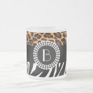 Stylish Animal Prints Zebra and Leopard Patterns Frosted Glass Mug