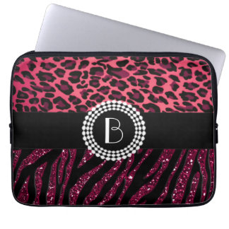 Stylish Animal Prints Zebra and Leopard Patterns Laptop Sleeve